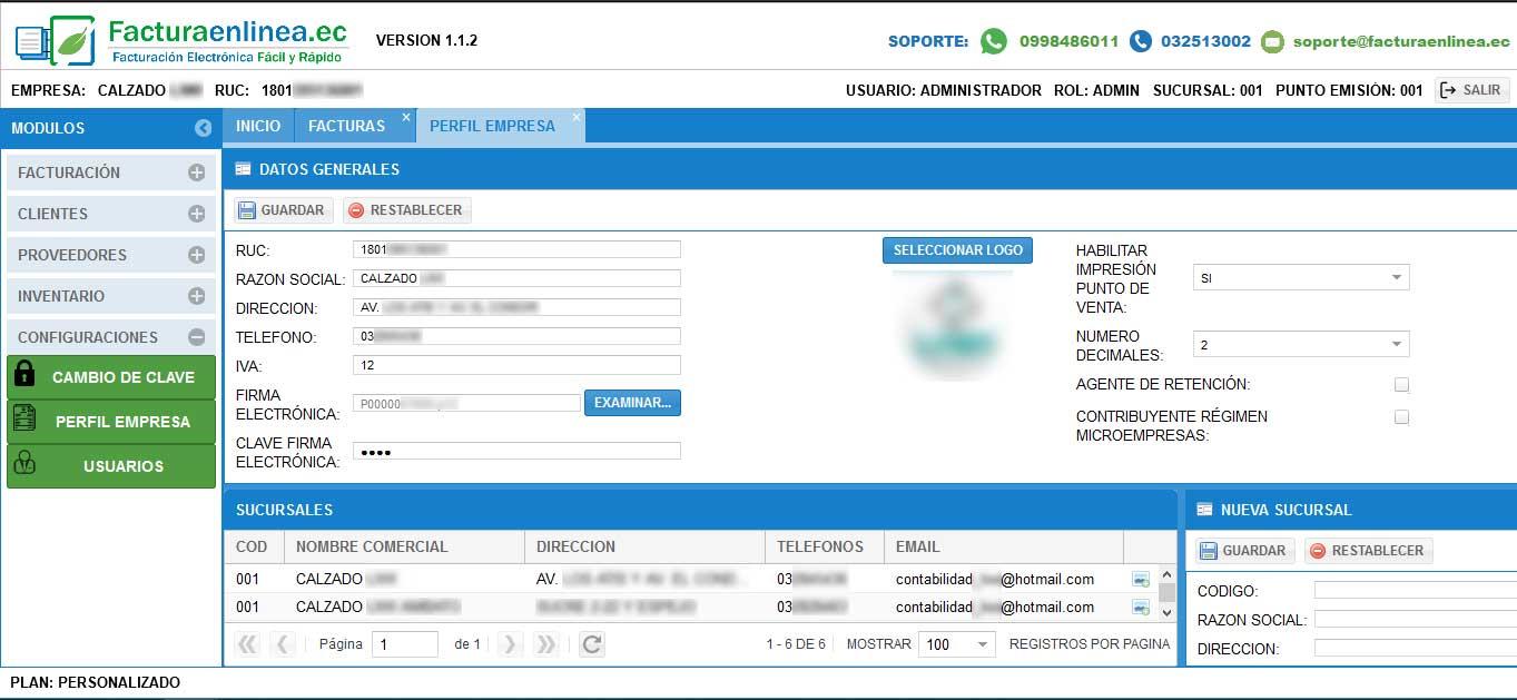 configuracion facturacion electronica